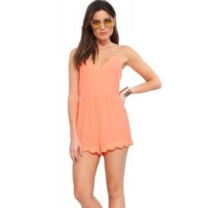 Lush Scallop Hem V Neckline Neon Coral Pink Orange